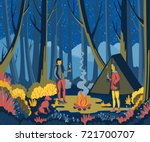 couple camping in forest with... | Shutterstock .eps vector #721700707