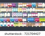 shelves with goods in grocery... | Shutterstock .eps vector #721704427