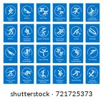 Winter sports icons set, vector pictograms for web, print and other projects. All olympic species of events. | Shutterstock vector #721725373