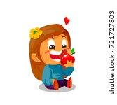 little girl with flower on the... | Shutterstock .eps vector #721727803