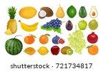 isolated fruits set on white...   Shutterstock .eps vector #721734817