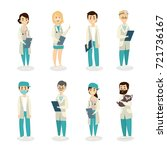 isolated doctors set on white... | Shutterstock .eps vector #721736167