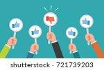 hand of businessman many hands... | Shutterstock .eps vector #721739203