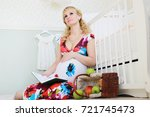 beautiful girl pregnant blonde... | Shutterstock . vector #721745473