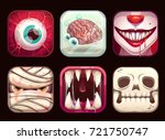 scary app icons on black... | Shutterstock .eps vector #721750747