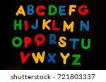 colorful plastic alphabets... | Shutterstock . vector #721803337