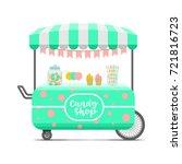 candy shop street food cart.... | Shutterstock .eps vector #721816723