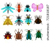bugs. vector cute bugs and... | Shutterstock .eps vector #721818187