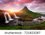 picturesque icelandic landscape ... | Shutterstock . vector #721823287