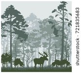 Vector Forest Morning Landscap...