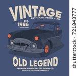 vintage style tee print design... | Shutterstock .eps vector #721843777