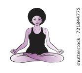 yoga woman in meditation pose... | Shutterstock .eps vector #721844773
