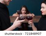 sad alone female in bar.... | Shutterstock . vector #721848907