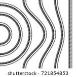set of shower hoses. curved ... | Shutterstock .eps vector #721854853