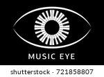 music eye logo piano keyboard... | Shutterstock .eps vector #721858807