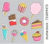 set of fun trendy vintage... | Shutterstock .eps vector #721859473
