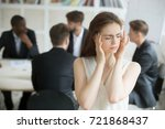 stressed young female corporate ... | Shutterstock . vector #721868437