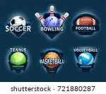 sports balls vector labels and... | Shutterstock .eps vector #721880287