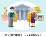 happy senior old people saving... | Shutterstock .eps vector #721880317