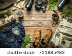 camping or adventure trip... | Shutterstock . vector #721885483