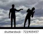 silhouette of a man showing a...   Shutterstock . vector #721905457