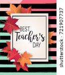 happy teacher's day   unique... | Shutterstock .eps vector #721907737