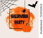 halloween party sign text over... | Shutterstock .eps vector #721910413