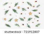 christmas composition. pattern... | Shutterstock . vector #721912807