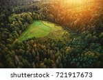 aerial view on hunting forest... | Shutterstock . vector #721917673