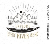 kayak and canoe vintage label ... | Shutterstock .eps vector #721934737