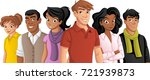 group of cartoon young people.  | Shutterstock .eps vector #721939873