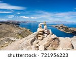 stone cairn with scenic... | Shutterstock . vector #721956223