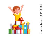 excited little boy kid rising... | Shutterstock .eps vector #721972333