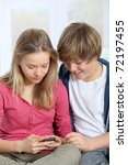 young teenagers using mobile... | Shutterstock . vector #72197455