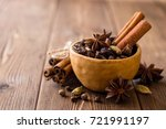 set of spices for mulled wine... | Shutterstock . vector #721991197
