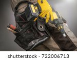 contractor with power tool.... | Shutterstock . vector #722006713