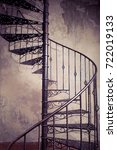 metal spiral staircase against... | Shutterstock . vector #722019133
