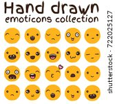 hand drawn vector emoticons... | Shutterstock .eps vector #722025127
