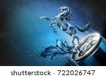 liquid horse jumped up from can ... | Shutterstock .eps vector #722026747