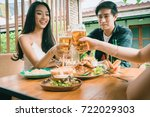 friendship party celebration in ... | Shutterstock . vector #722029303