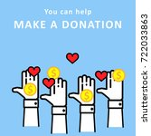 making a donation  giving money.... | Shutterstock .eps vector #722033863