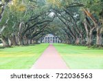 double row of live oaks trees ... | Shutterstock . vector #722036563