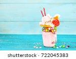 extreme milkshake. freakshake.... | Shutterstock . vector #722045383