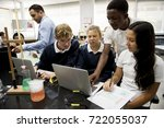 group of students laboratory... | Shutterstock . vector #722055037