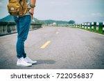 woman traveler standing alone... | Shutterstock . vector #722056837