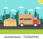delivery van with cardboard... | Shutterstock .eps vector #722065543