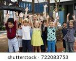 group of diverse kindergarten... | Shutterstock . vector #722083753