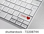 silver keyboard with heart icon ... | Shutterstock . vector #72208744