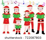 christmas concert with family. | Shutterstock .eps vector #722087803