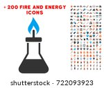 spirit lamp fire icon with...